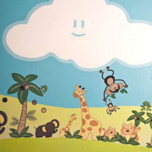 Baby nursery room wall mural design with Nojo Jungle Babies wall decals and painted clouds