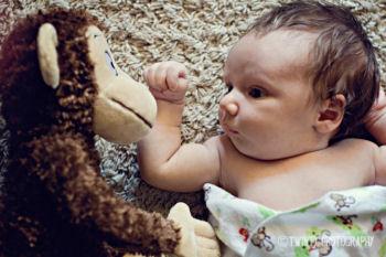 Baby boy monkey theme newborn photo shoot props ideas