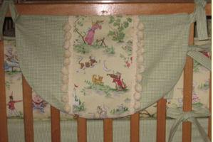 Nursery Rhyme Theme Toile and Green Gingham Baby Nursery Crib Bedding Set