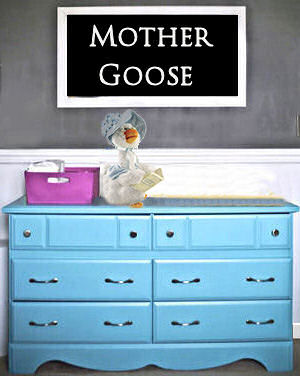 Mother Goose nursery rhymes theme crafts and DIY decorating ideas for a nursery for a baby boy,  baby girl or either.