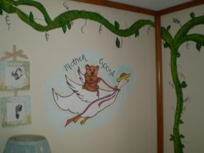 Mother Goose Baby Nursery Rhymes Hand Painted Wall Mural
