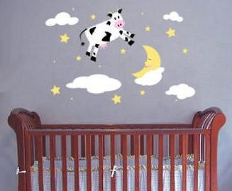 Hey Diddle Diddle Nursery Rhymes baby nursery wall decals and stickers