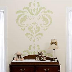 baby stencils damask wall stencil