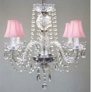elegant pink beaded crystal baby girl nursery chandelier ceiling light fixture with silk mini shades baby room lighting ceiling