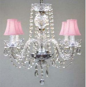 Elegant pink beaded crystal baby girl nursery chandelier ceiling light fixture with silk mini shades