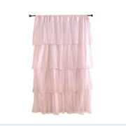Pink ruffled baby nursery curtains window treatments for baby girl nursery room