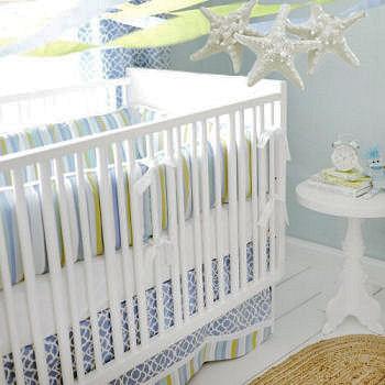 Ocean nursery bedding with diy homemade starfish baby mobile and decor