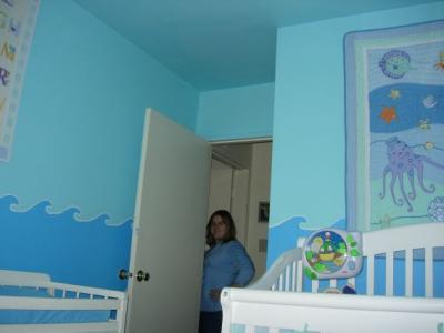 Ocean Theme Nursery Wall Mural Blue Purple and White Octopus Tropical Fish and More!