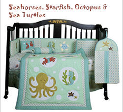 Ocean theme baby bedding set with starfish sea turtles octopus crab sea horses