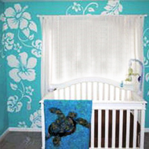 Hawaiian sea turtle ocean theme nursery design