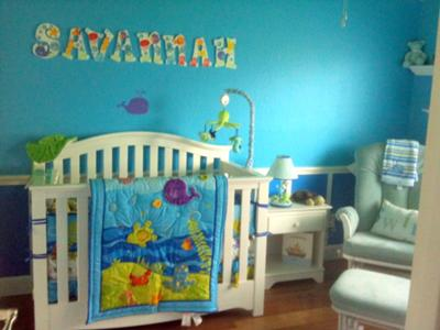 Our Baby Crib With Ocean Wonders Nursery Bedding Custom Ocean Wonders Wall Letters, Bubbles Lamp, Turtle Nightlight Sea Green Glider With SWIM Pillow