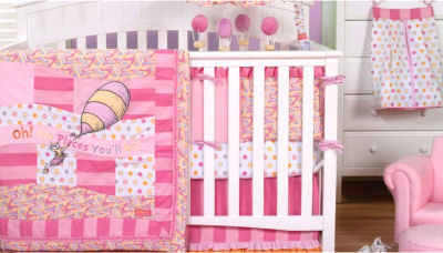 Pink Oh the Places You'll Go baby girl dr. seuss nursery bedding