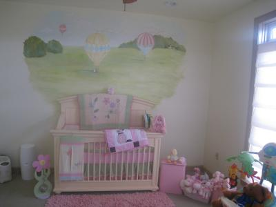 Old English Hot Air Balloon Nursery Wall Mural Painting