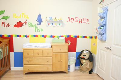 Joshua's One Fish Two Fish Red Fish Blue Fish Dr Seuss Baby Nursery Wall Mural