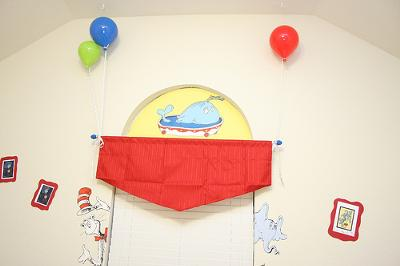 Joshua's Dr. Seuss Nursery Window Treatments - The Balloons Seem to Be Holding the Red Valance in Place!