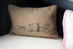 vintage puppy dog parade pillow cover