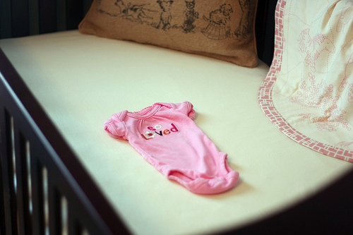 vintage baby girl nursery decor homemade handmade blanket pink love onesie crib