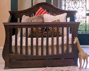 Elegant one-of-a-kind convertible baby crib in Espresso