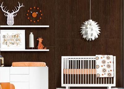 Modern Chocolate Brown and Orange Baby Nursery Decor with Deer and ABC wall art