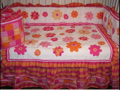 pink and orange baby girls nursery crib bedding set