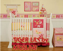 orange and pink baby bedding tiger lily by kidsline baby girl nursery tropical beach hawaiian