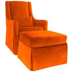Comfortable orange nursery glider with ottoman