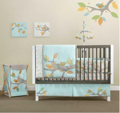 Aqua organic baby nursery crib bedding set with applique birds on the crib quilt, tree branch decorations and wall decor