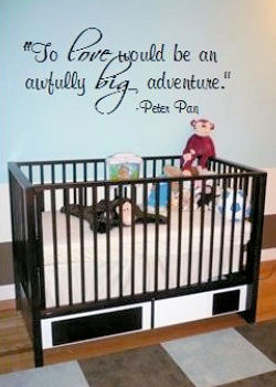 Our Baby Boy's Nursery.  We had a decal of our favorite Peter Pan quote custom made to decorate the wall behind the crib.