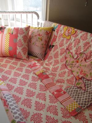 Our baby girl's crib bedding set that I made using fabric from the