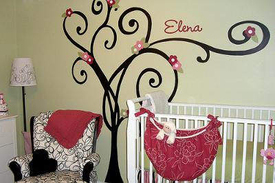 Our Baby Girl's Custom Pink and Green Nursery Decor in Stripes, Polka Dots and Swirling Black and White Fabrics