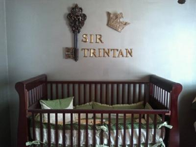 Martha Stewart metallic silver and gold paint was used to refinish the nursery furniture, the nursery walls and ceiling