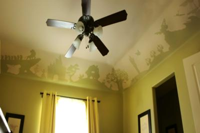 The ceiling mural that we painted in our baby's Disney nursery
