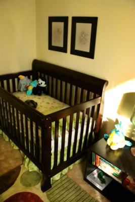 Our baby boy's crib is waiting for him to arrive