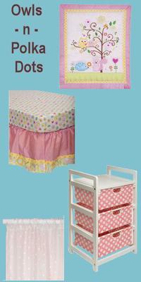 Pink owl and polka dots baby girl nursery theme decor