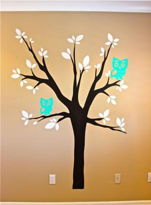 Baby Owl Nest Nursery Wall Decor in Cream, Turquoise Blue and Brown