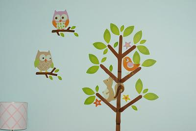 Tree Nursery Wall Decor with Squirrels and Baby Owls