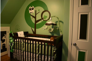 Green and Brown Owl Baby Nursery Theme in Natural Forest Colors