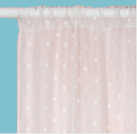 White sheer baby girl nursery curtain panels with pink polka dots