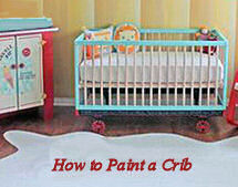 Baby crib painted turquoise blue and white