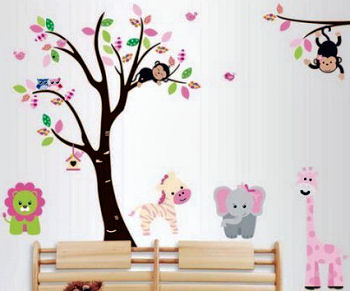 Hand painted zoo animals on the walls of a baby girl nursery room in pink lavender purple