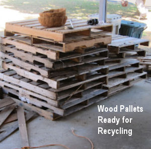 Wooden pallets ready for recycling.  Free wood for DIY furniture and decorating projects