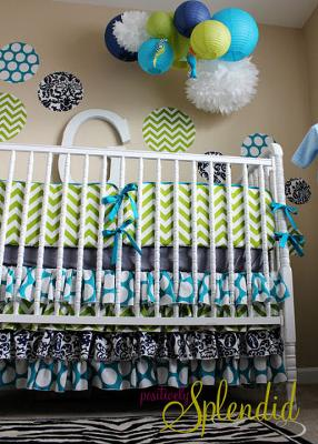 Paper Lanterns, Pom Poms and Polka Dots Custom Fabric Wall Decals Complement the Green and White Chevron Stripes and Black and White Damask Pattern of Amy's Baby Boy's Crib Bedding Set
