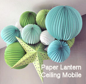 DIY paper lantern baby ceiling mobile for a nursery room