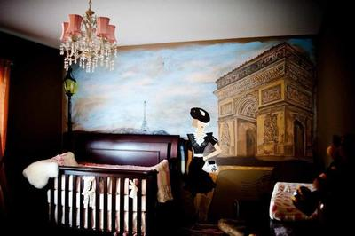 Paris at Dusk Wall Mural in My Baby Girl's Nursery