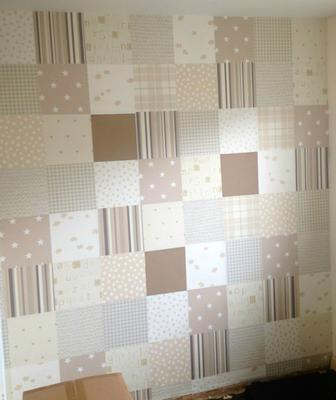 DIY Patchwork Wallpaper in Neutral Colors for a Baby's Nursery Room