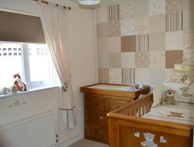 Unique Patchwork Wall Covering in a Neutral Teddy Bear Nursery Theme Room Design