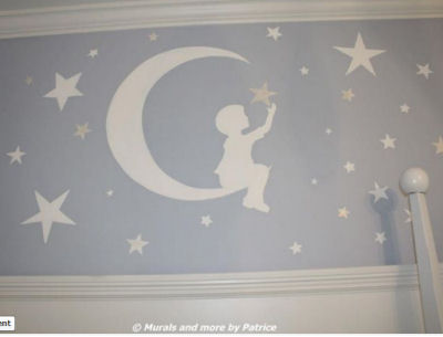 Metallic silver blue and white nursery wall mural in a Goodnight Moon and stars nursery theme for a baby boy room