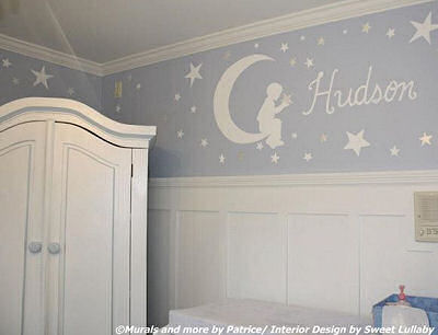 Custom Goodnight Moon nursery wall mural in a baby boy nursery room