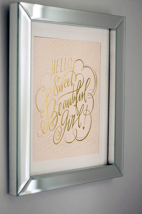 Hello Sweet Beautiful Girl quote print in metallic gold and blush pink nursery wall decor for a baby girl room