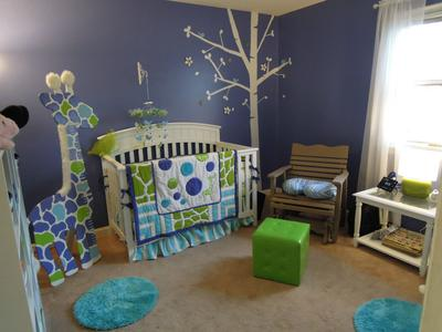 Giraffe baby nursery with homemade wooden stand-up growth chart and custom crib bedding set